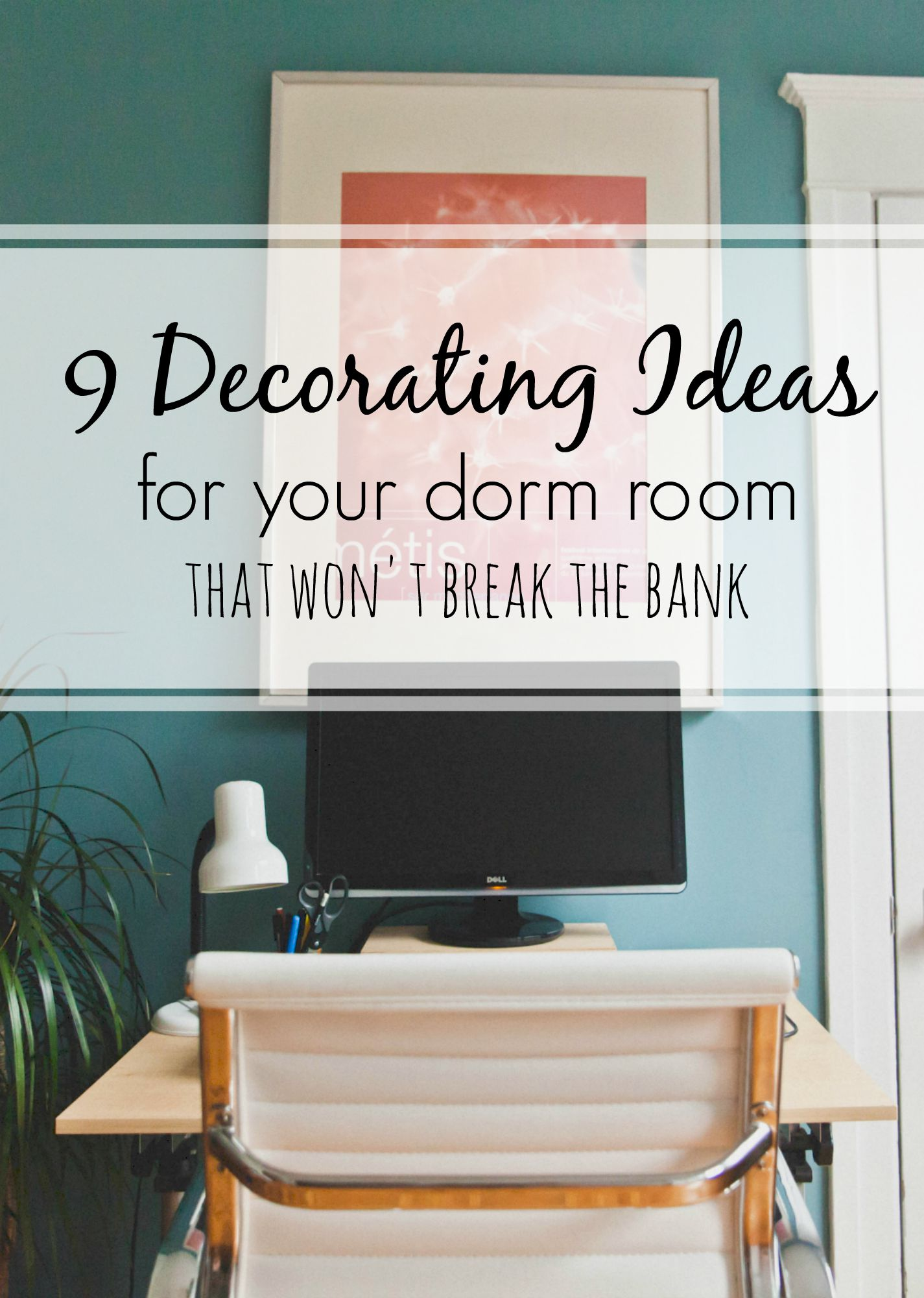 Decorating your dorm room can be a ton of fun, but it can be hard to find ideas for small rooms that still fit with your budget! Here are some ideas to help maximize creativity and functionality of your dorm room without maximizing spending!